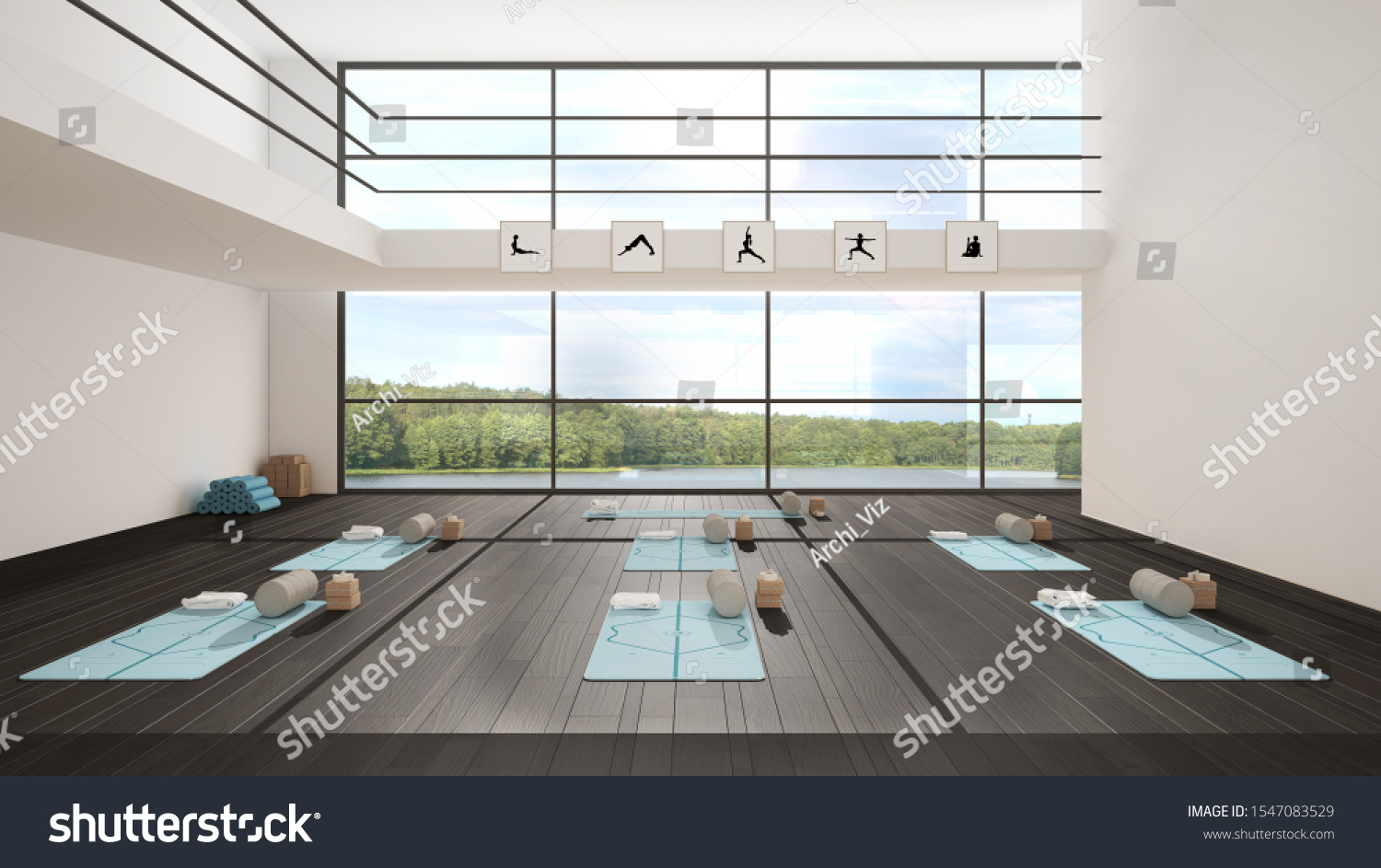 Empty Yoga Studio Interior Design Architecture Stock Illustration 1547083529