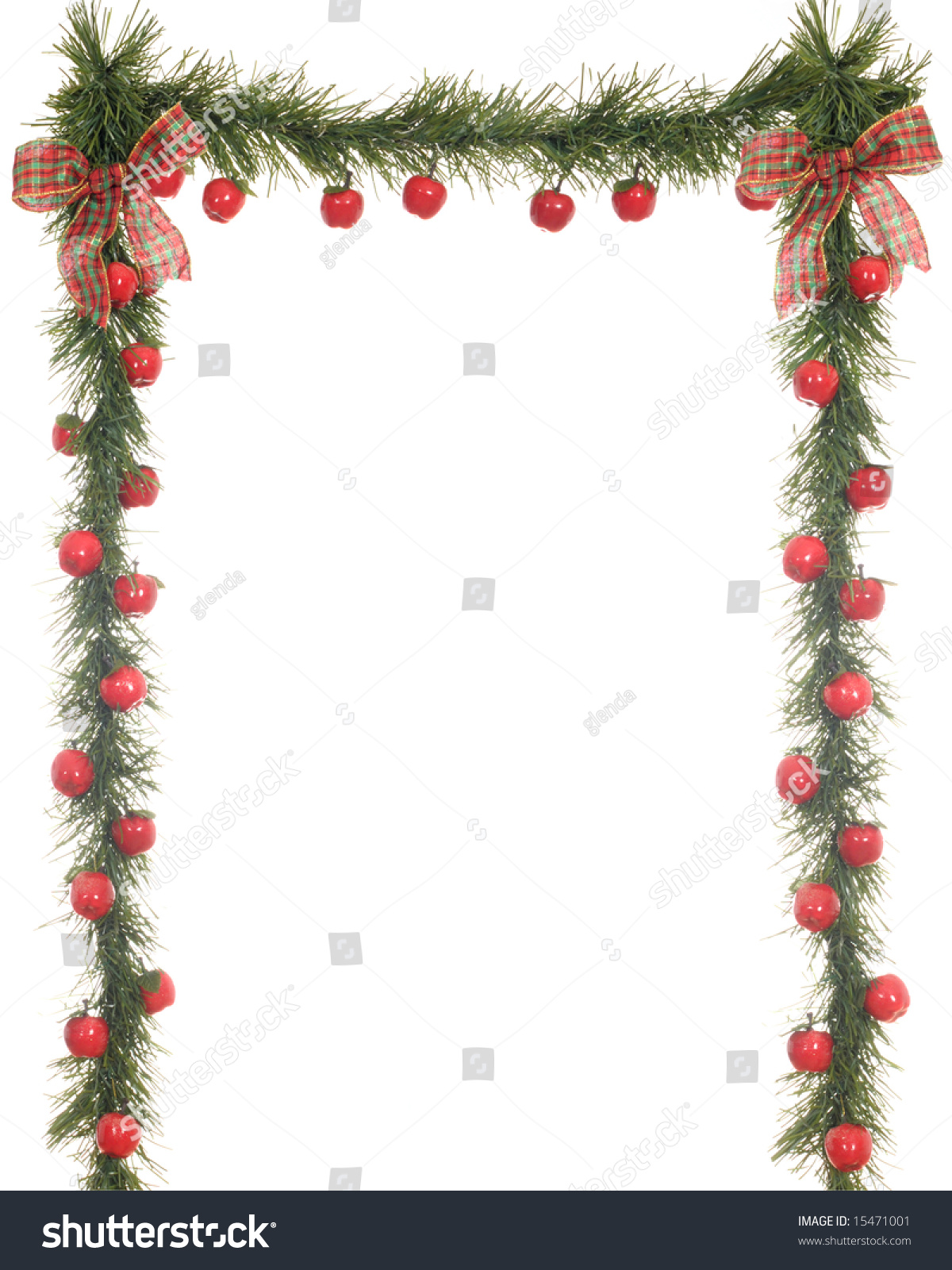 3sided Christmas Border Composed Evergreens Apples Stock Photo ...