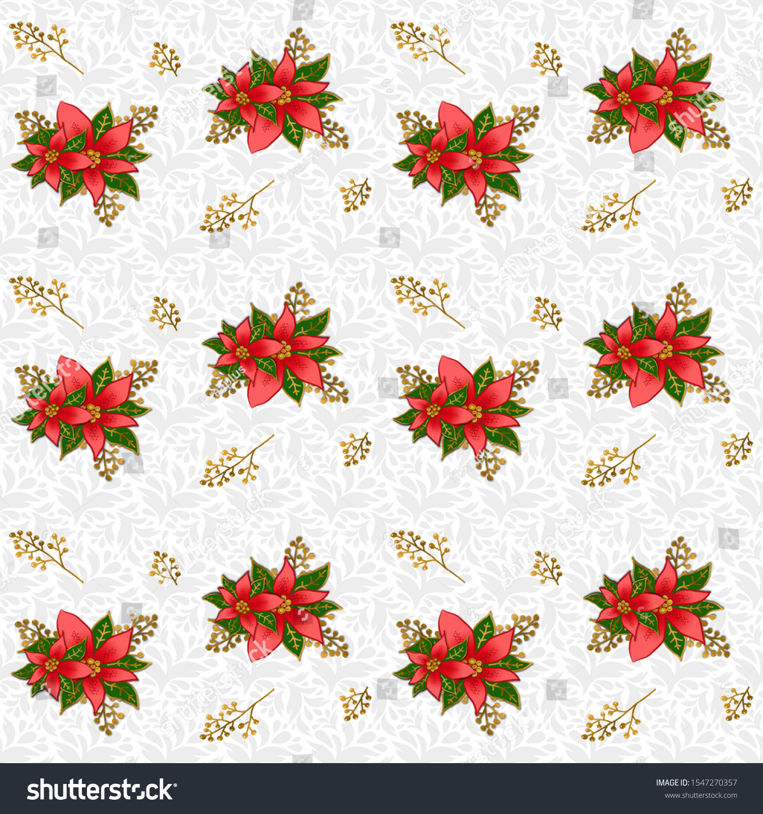 Christmas Poinsettia on a light gray background, seamless floral pattern. Paper for scrapbooking. Created for design, crafting and mass production of various goods.