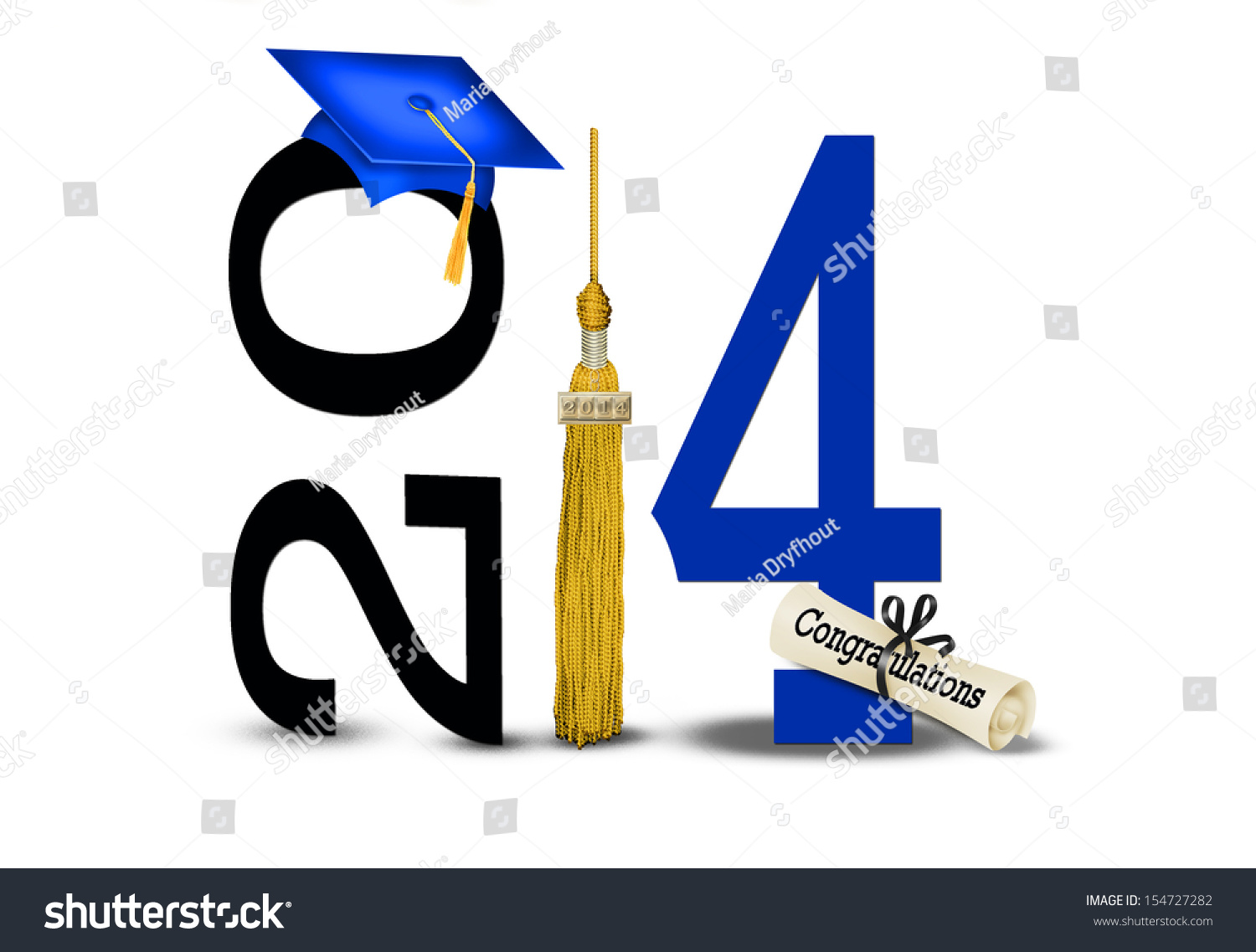 ... tassel with blue graduation cap on white background for class of 2014