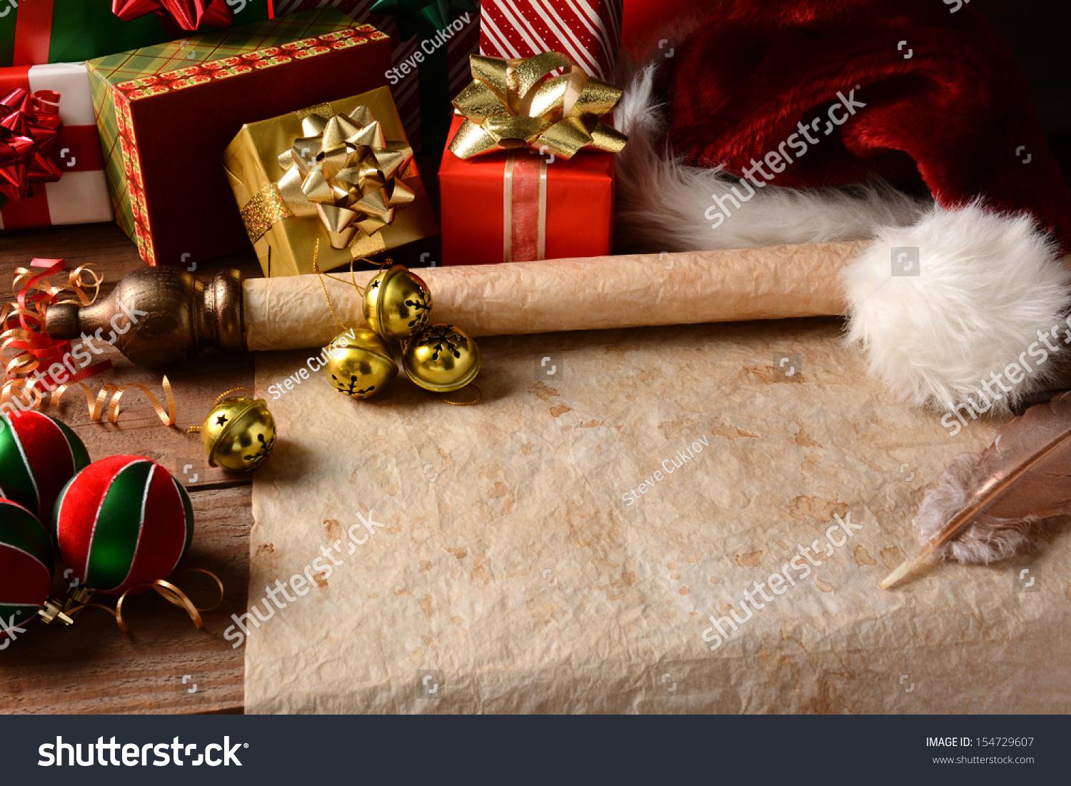 Christmas still life old parchment scroll stock photo