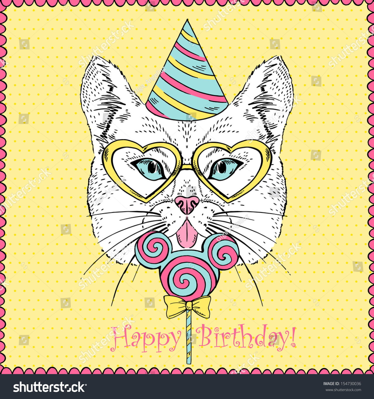 Happy Birthday Cat We Heart It: Hand Drawn Illustration Cat Party Hat Stock Vector