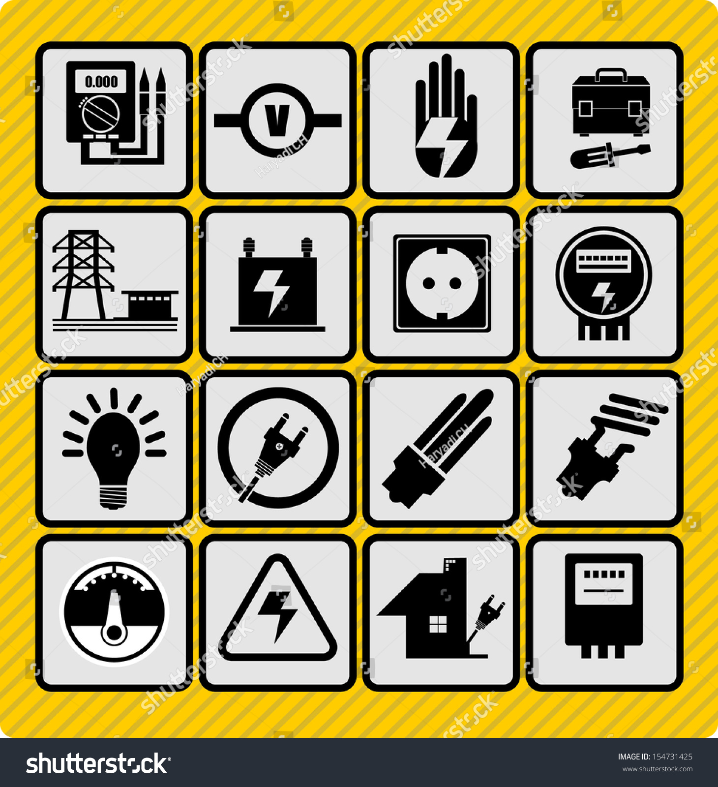 Electricity Icons Stock Vector (2018) 154731425 - Shutterstock