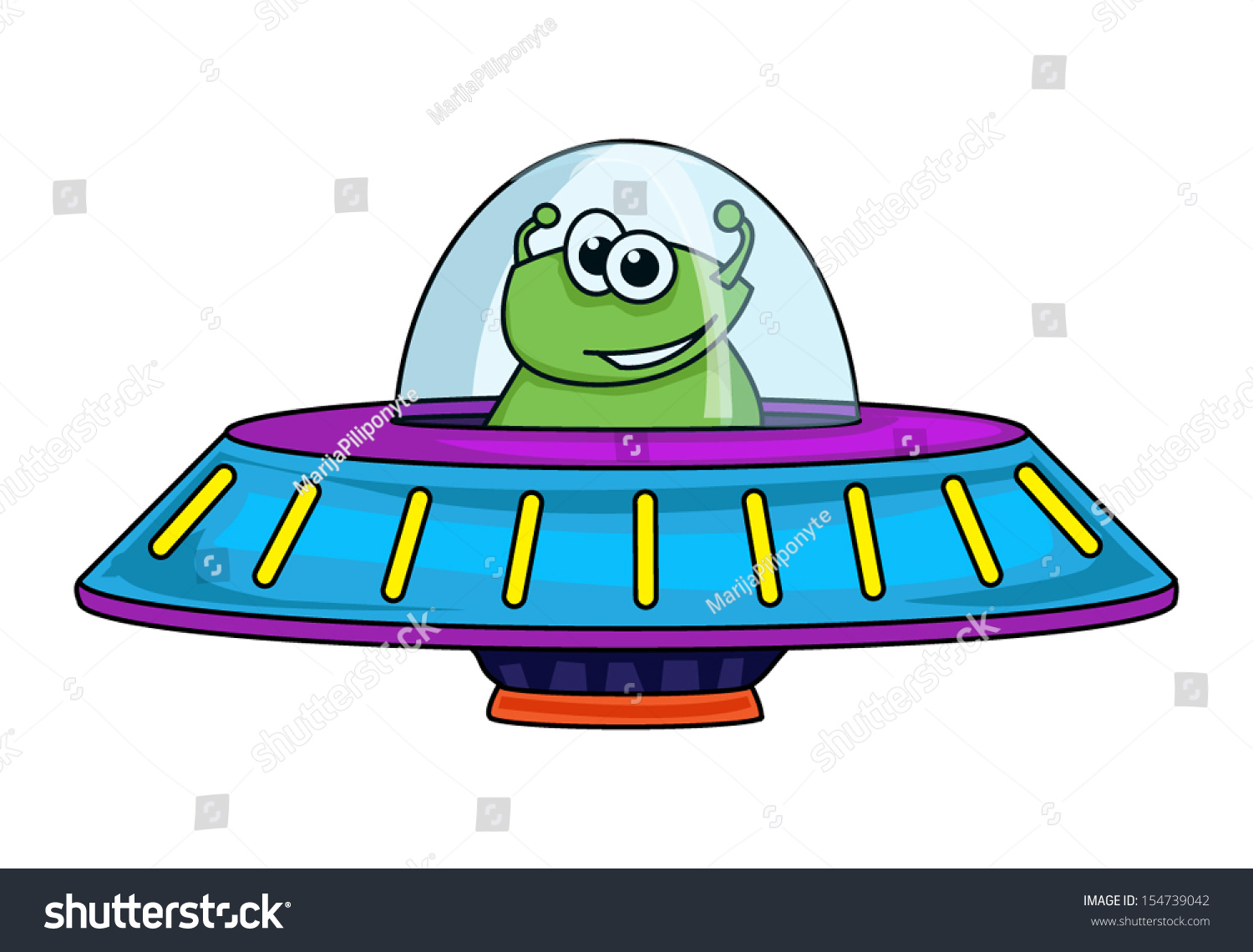Green Alien In A Cute Cartoon Space Ship, Vector