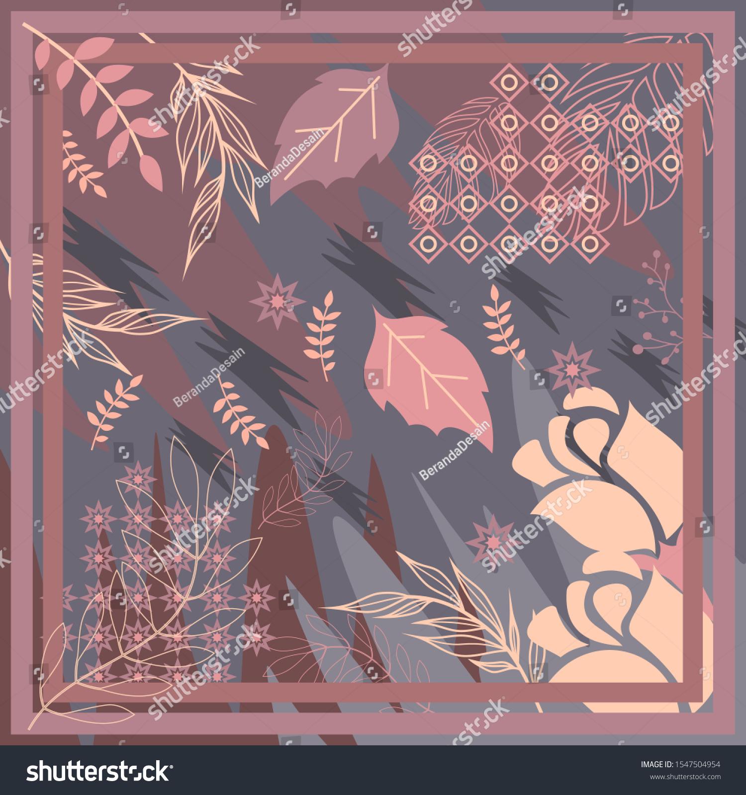 Pattern Hijab Motif Design Foliage Design Stock Vector (Royalty