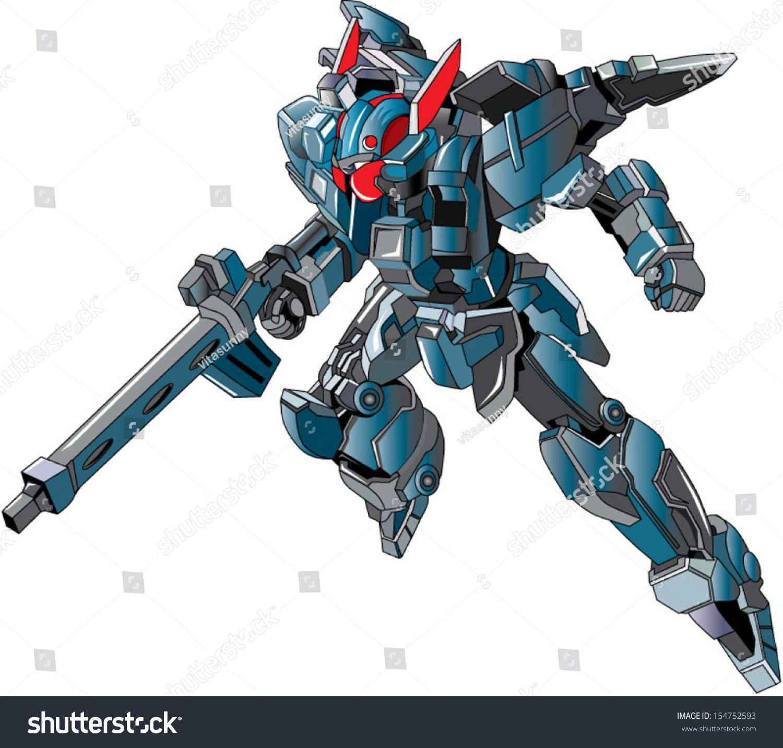 Your Technology Ally Stock Vector Flying Metallic Ally Grey Robot Warrior