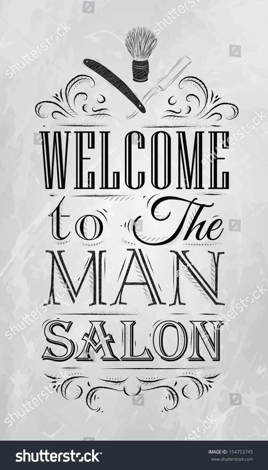 Poster design drawing - Poster Barbershop Welcome To The Man Salon In A Retro Style And Stylized For The Drawing