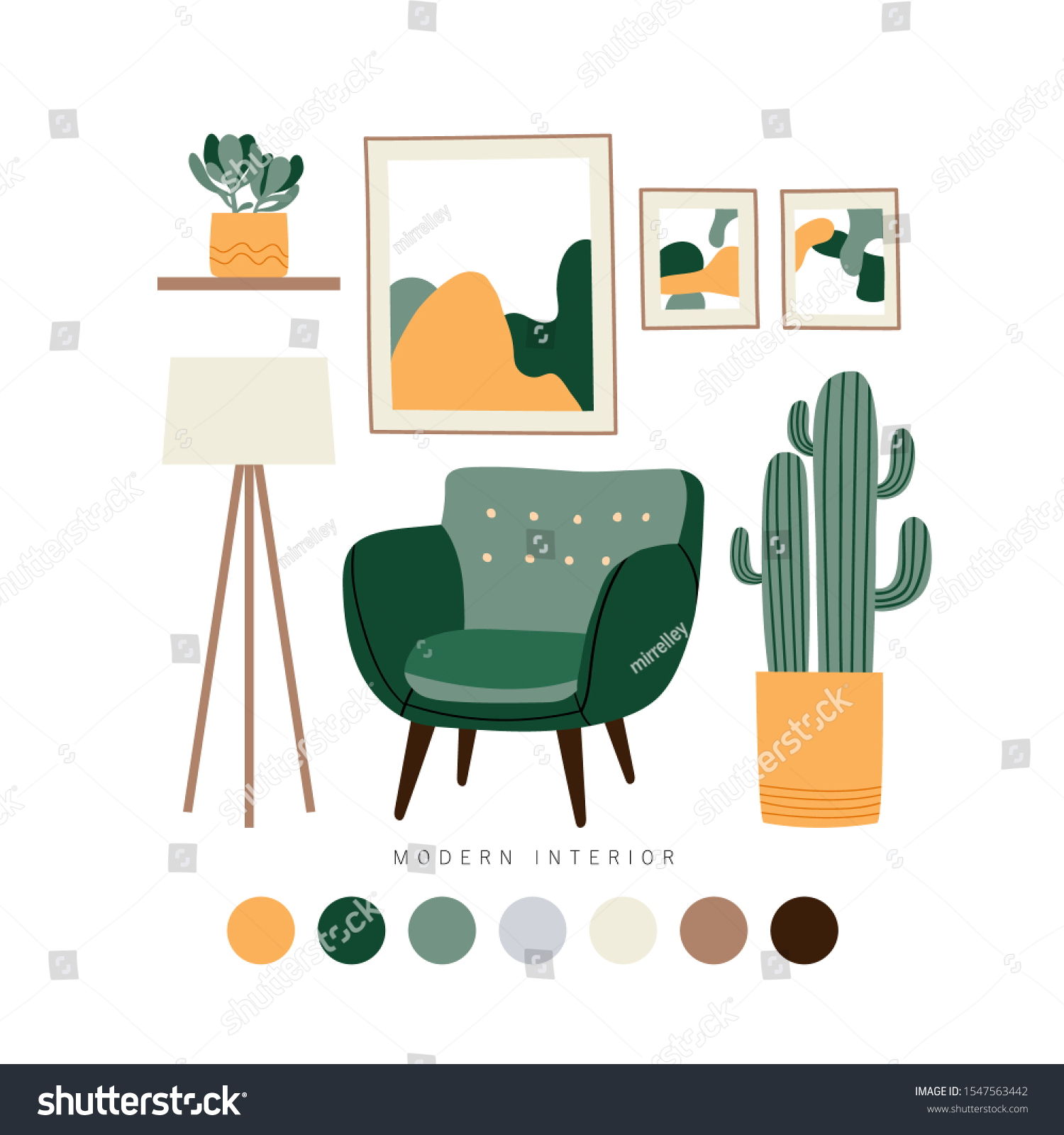 Set Furniture Interior Home Accessories Mid Stock Vector Royalty Free 1547563442
