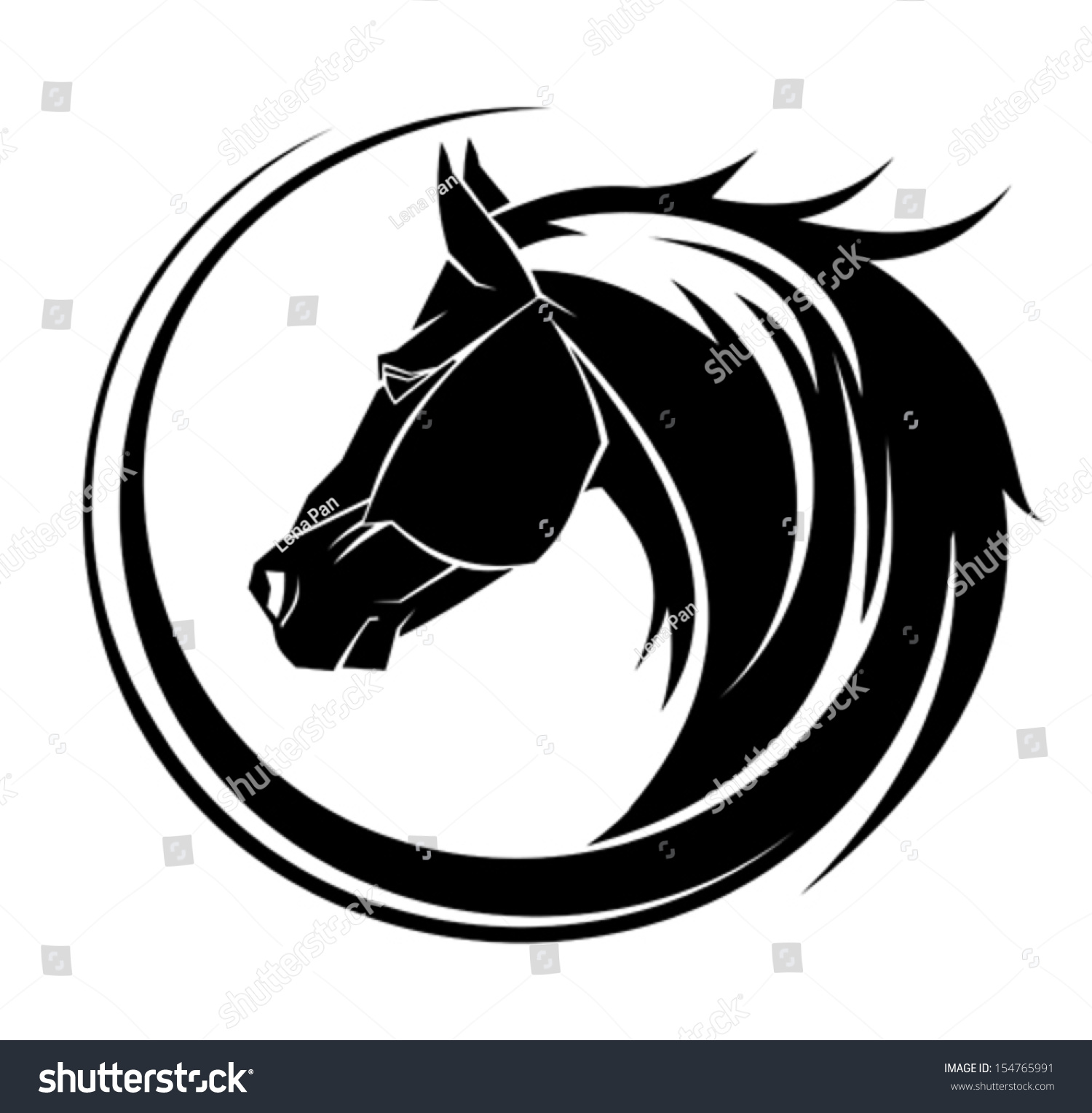 horse circle tribal tattoo art stock vector 154765991 shutterstock. Black Bedroom Furniture Sets. Home Design Ideas