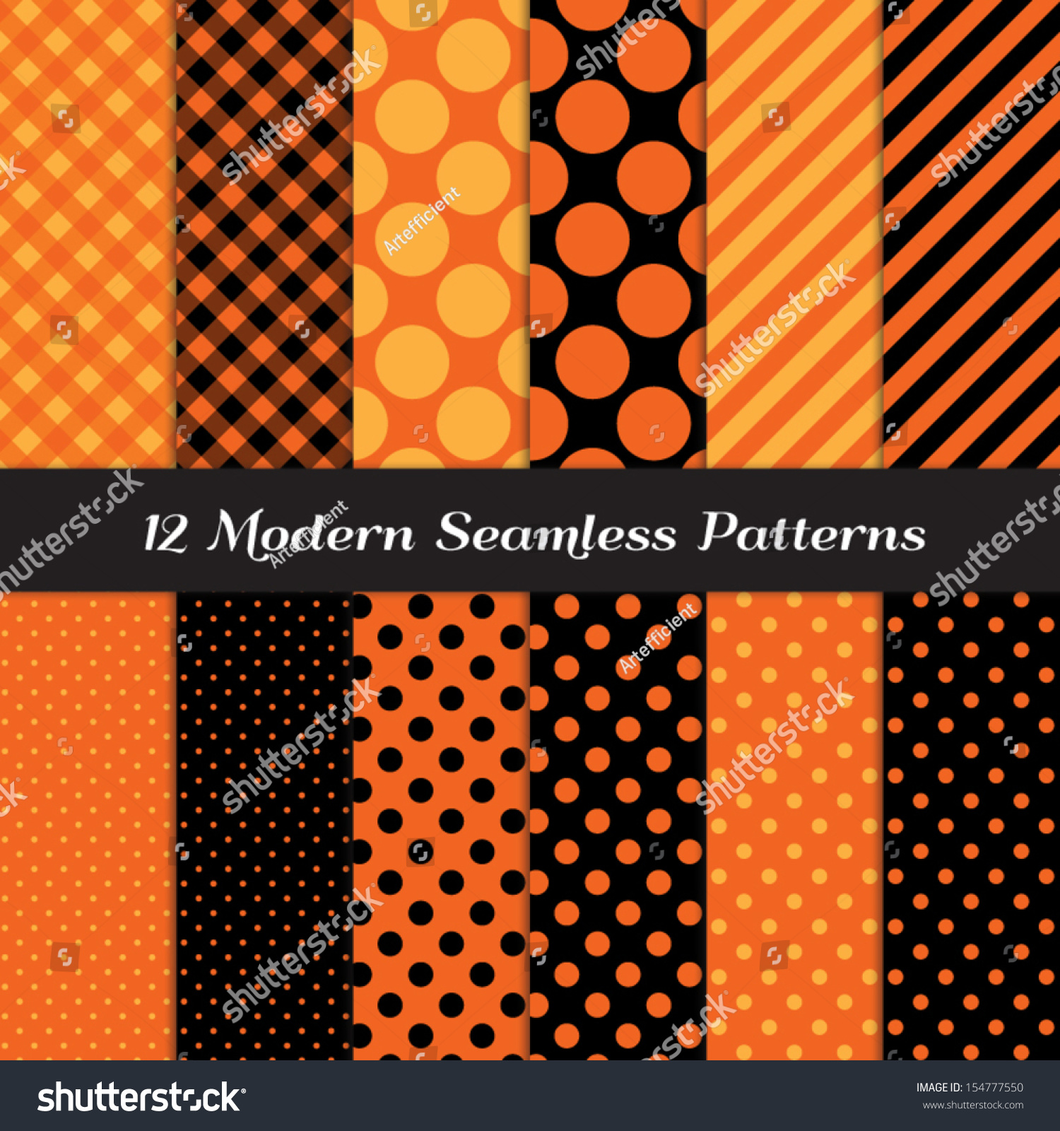 Halloween orange black jumbo polka dot stock vector