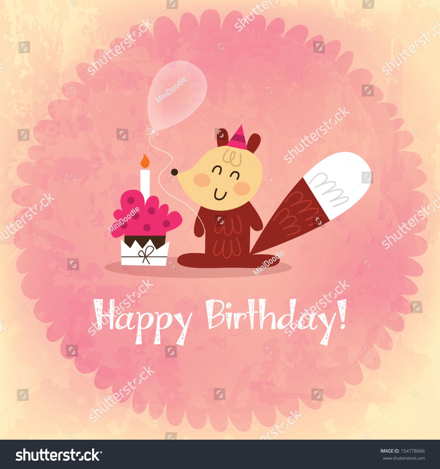 Vintage Happy Birthday Card Invitation Fox Vector 154778666 – Vintage Happy Birthday Cards