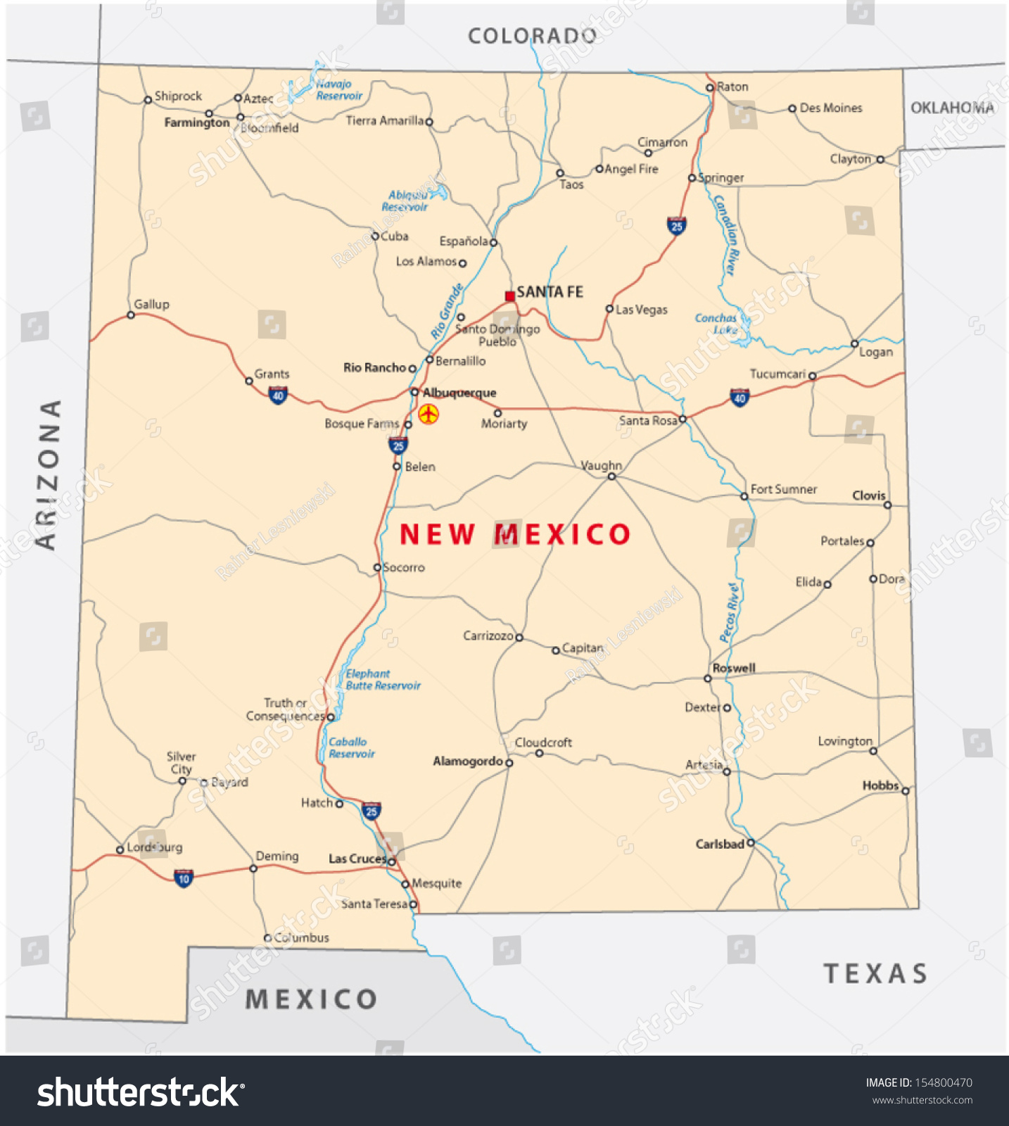 New Mexico Road Map Saddleback Map - Road map of new mexico