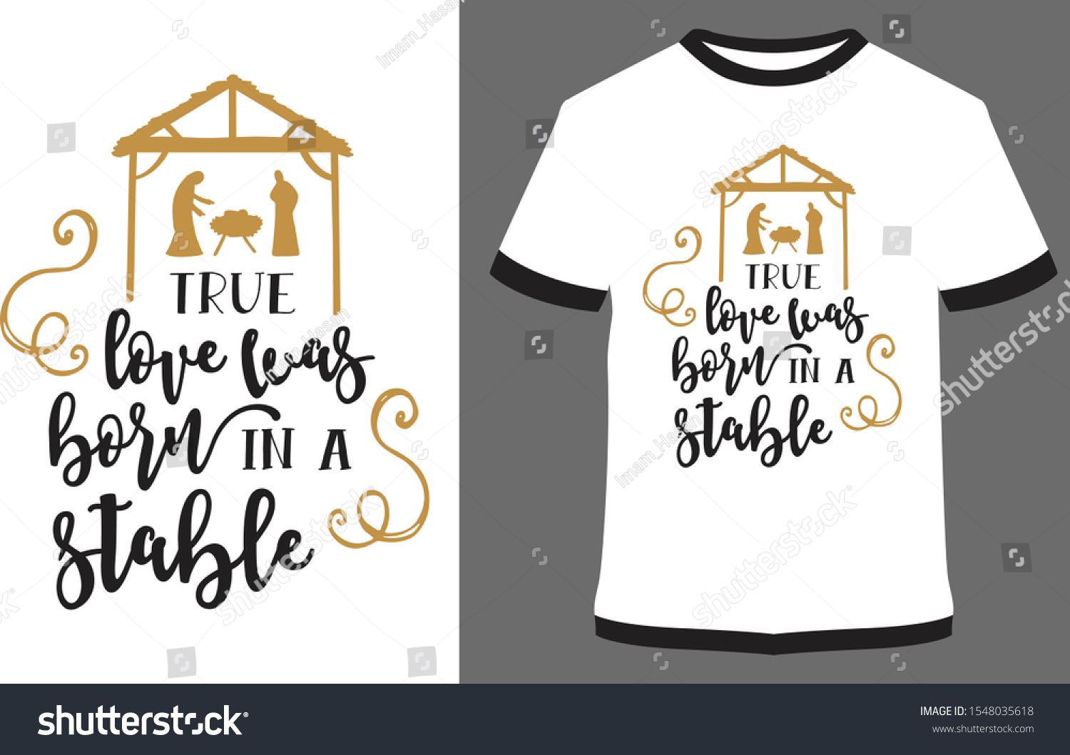 Christmas Shirts True Love Born Stable Stock Vector Royalty Free 1548035618