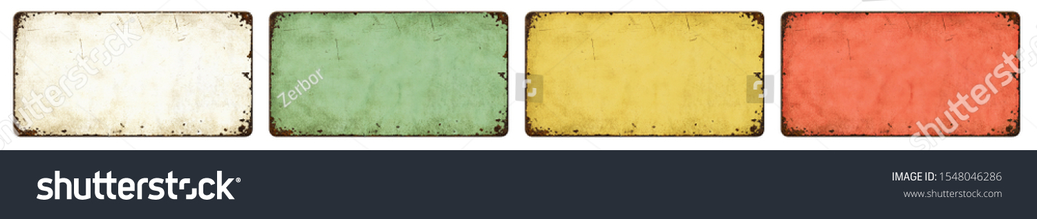 Four empty vintage tin signs on a white background #1548046286
