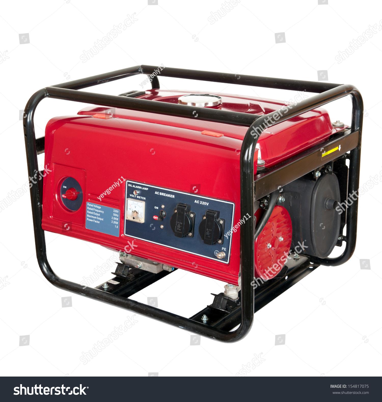 Portable Gasoline Generator Isolated White Stock