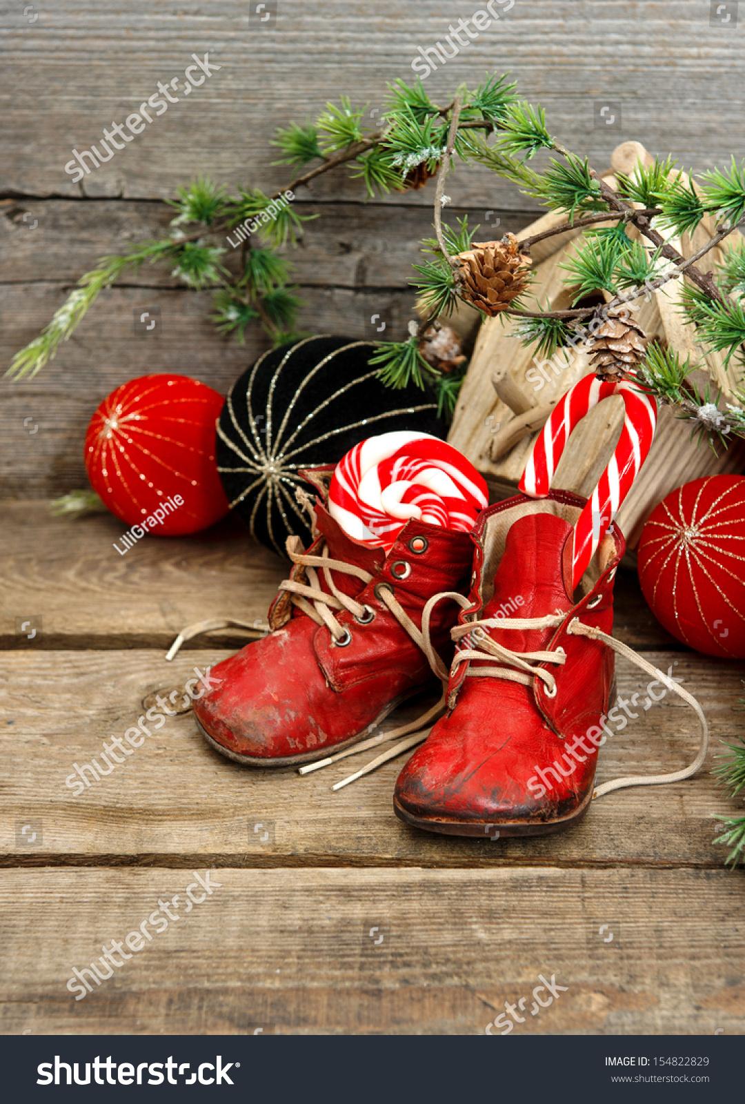 Christmas stocking nostalgic decoration with antique toys