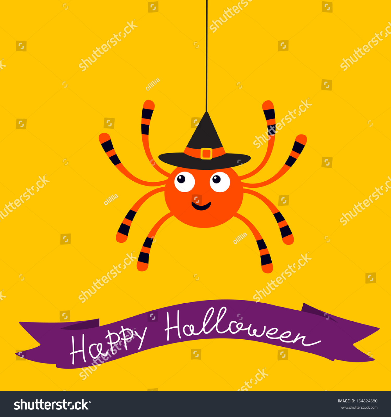 Cute Halloween Card Spider Stock Vector Shutterstock