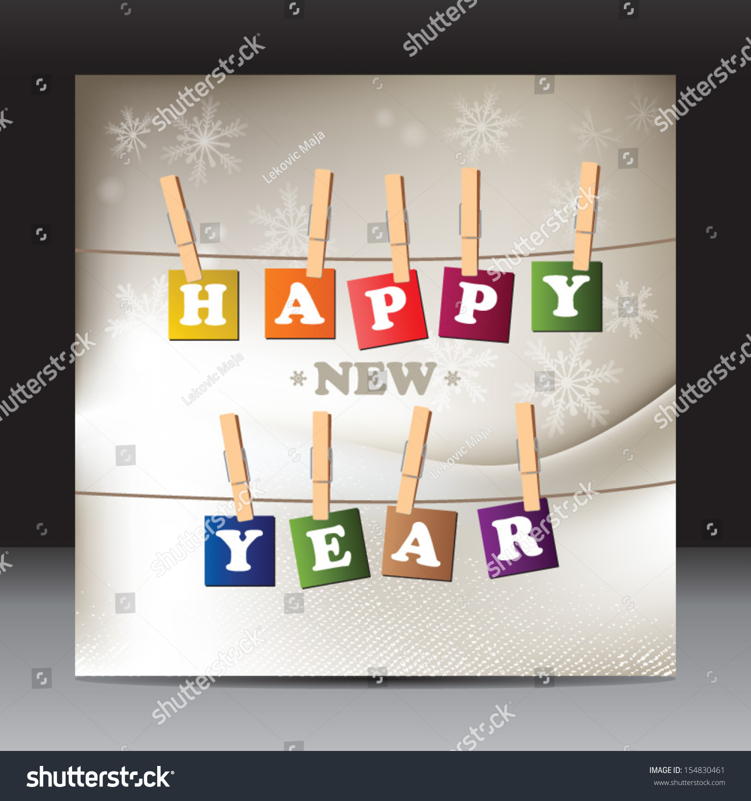 Happy New Year Flyer Design Template Stock Vector (Royalty Free ...