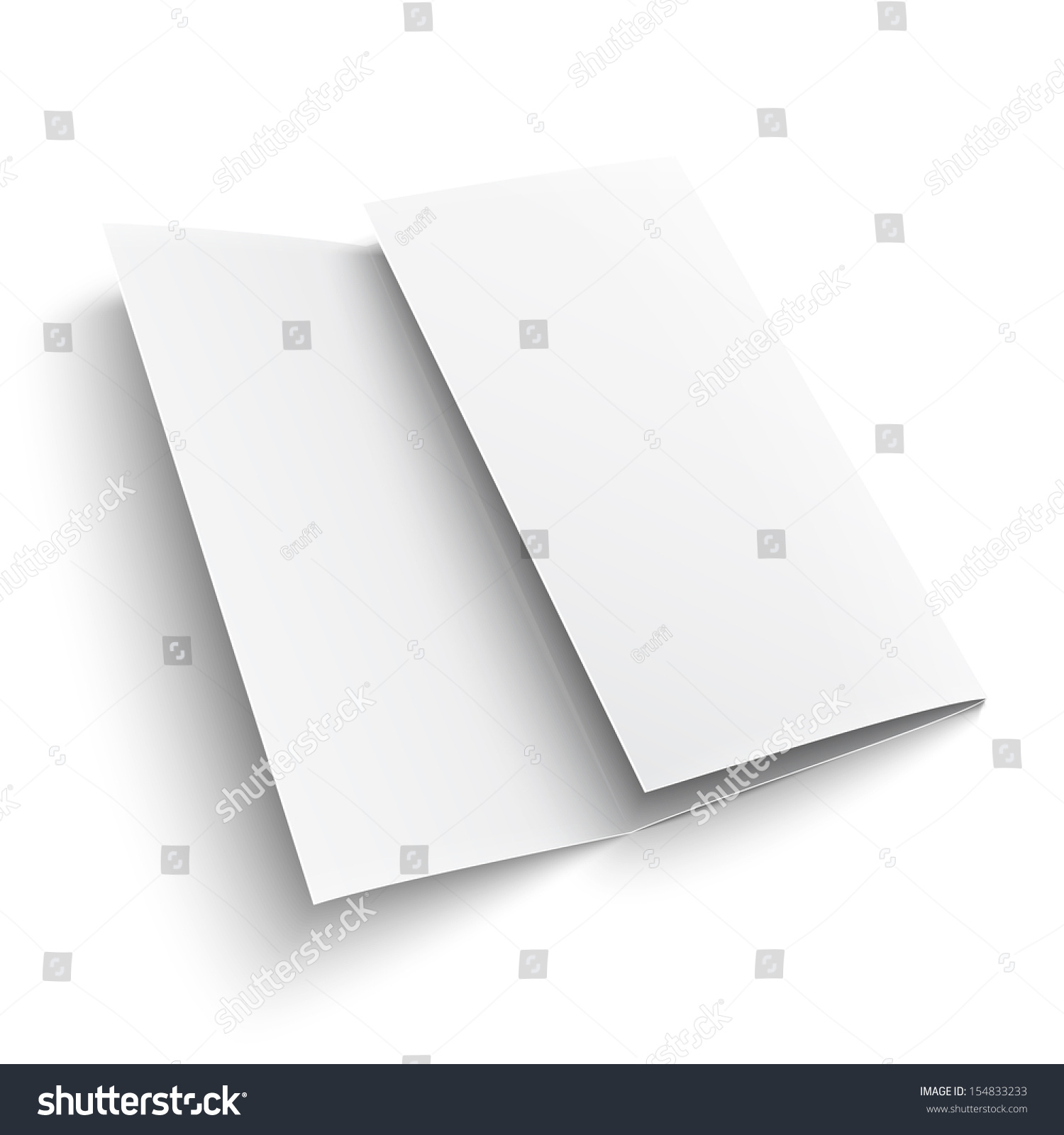 blank trifold paper brochure on white stock vector royalty free