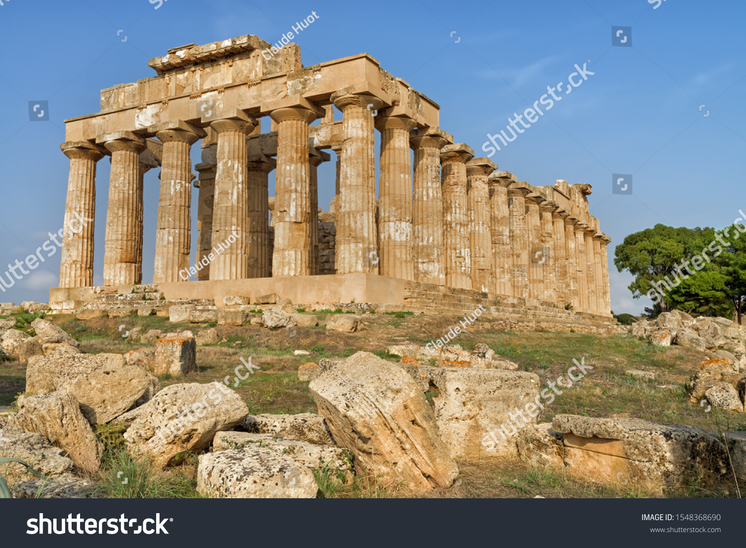 Back of the Doric Greek Temple of Hera, known as Temple E, in the Selinunte Archaeological Park, Sicily. It was built in the fifth century BC and is the best conserved of the temples in the Park.