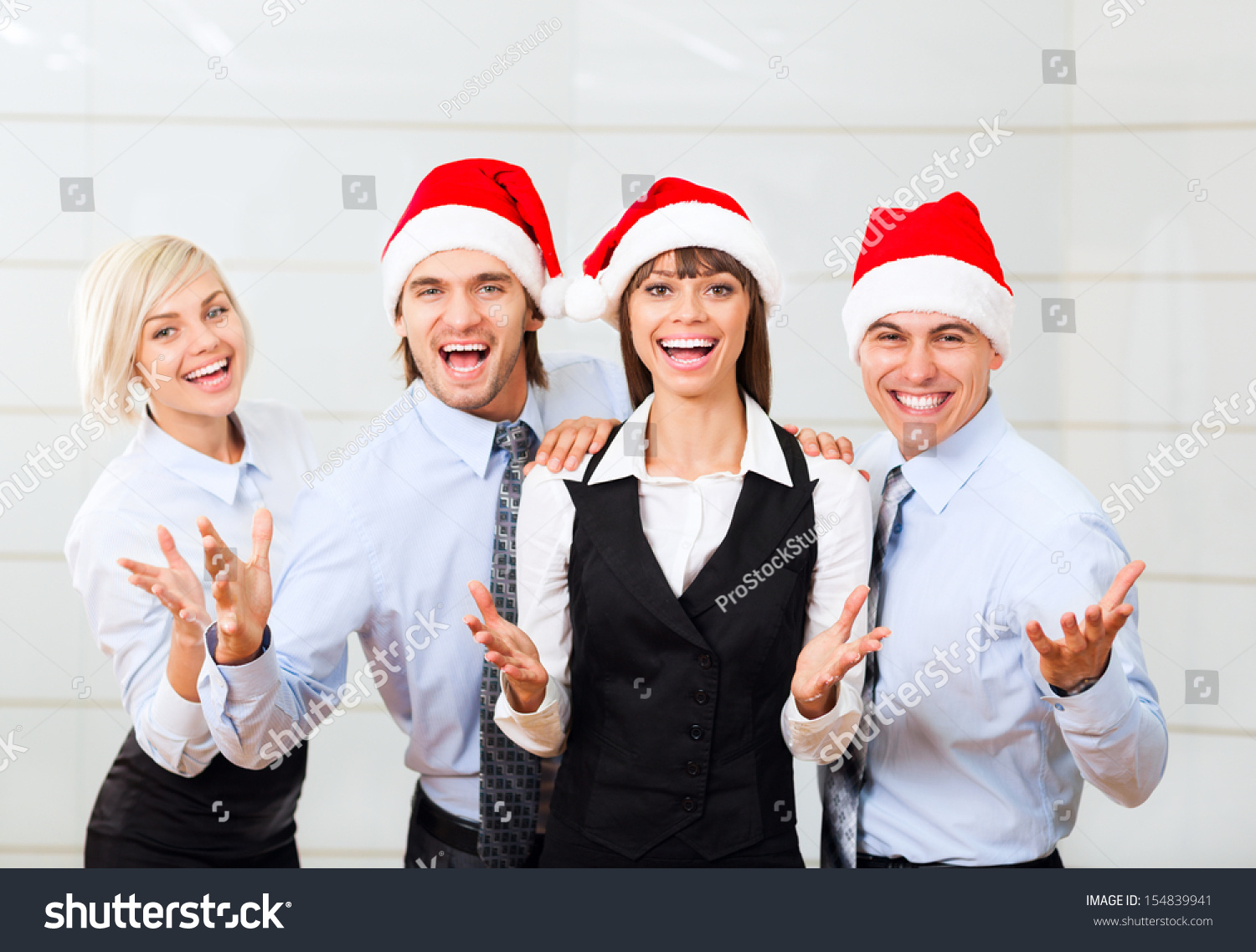 businesspeople office party celebrate new year stock photo businesspeople office party celebrate new year christmas holiday group of business people team wear