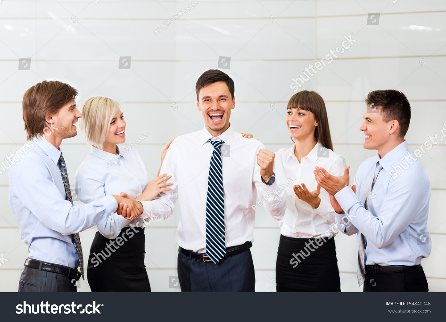 business people applauding congratulating colleague boss stock business people applauding congratulating colleague boss team leader success businesspeople group smile