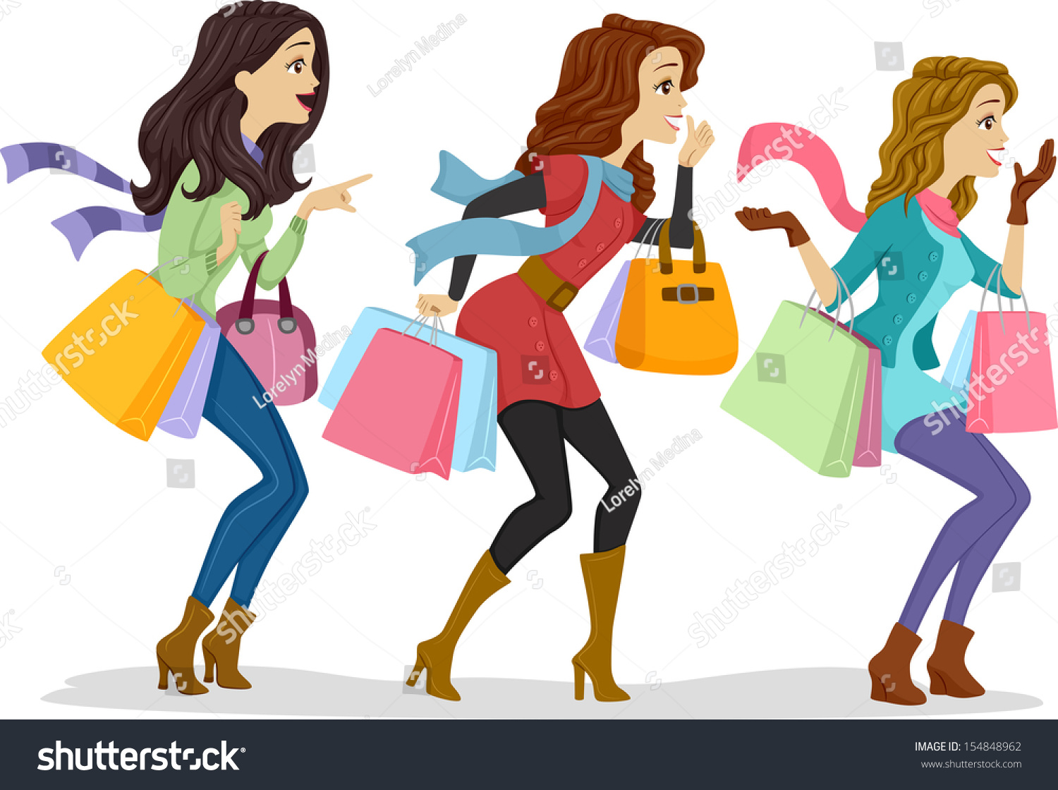 Illustration Girls Carrying Shopping Bags Facing Stock Vector ...