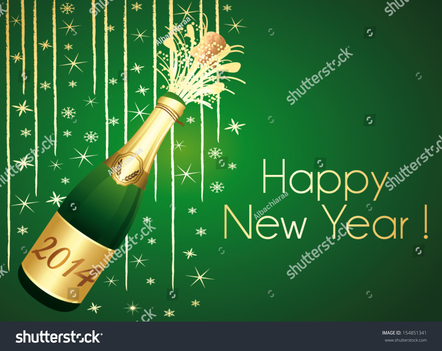 Happy new year 2014 green gold stock photo photo vector happy new year 2014 green and gold horizontal vector greeting card m4hsunfo