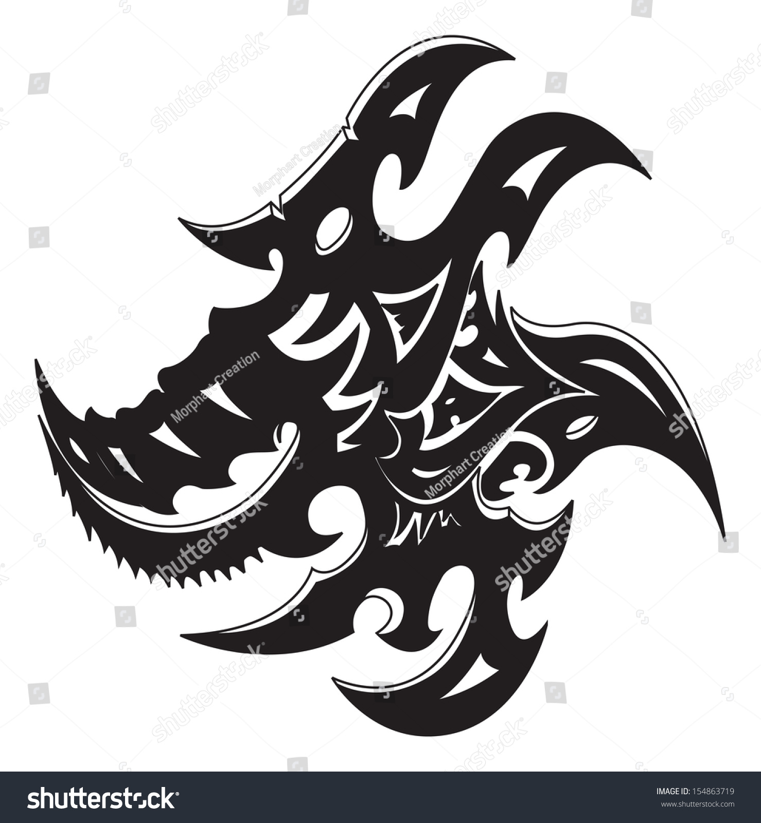 Dragon vector sign stock vector 313643336 shutterstock - Dragon Vector Sign Stock Vector 313643336 Shutterstock Vectors Illustrations Footage Music Abstract Tribal Tattoo Design
