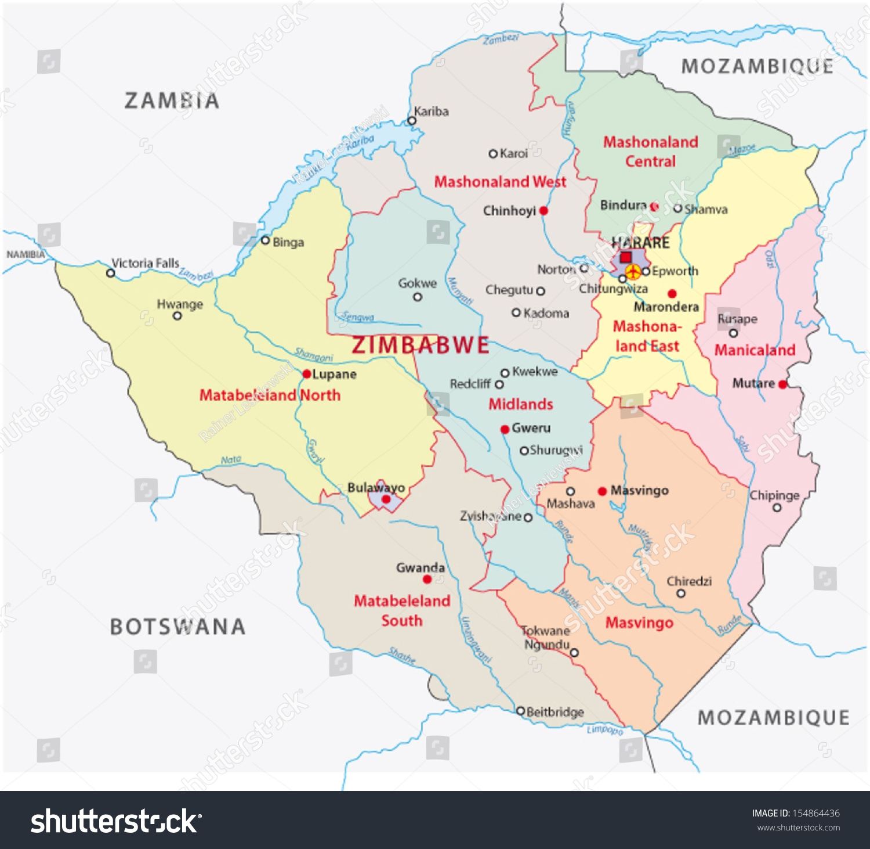 Zimbabwe Administrative Map Stock Vector 154864436 Shutterstock