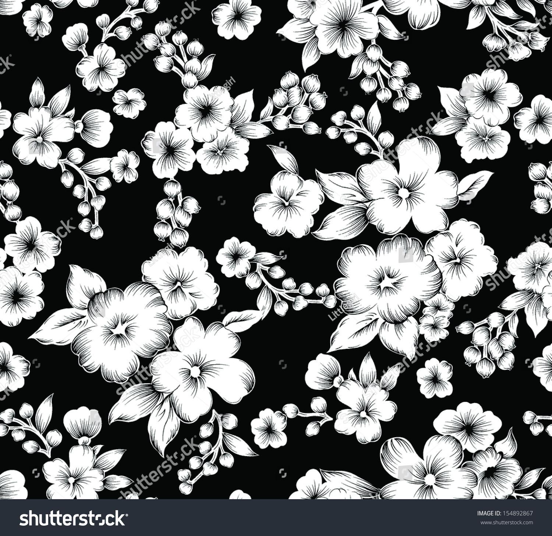 Seamless Vintage Black White Flower Stock Vector Royalty Free