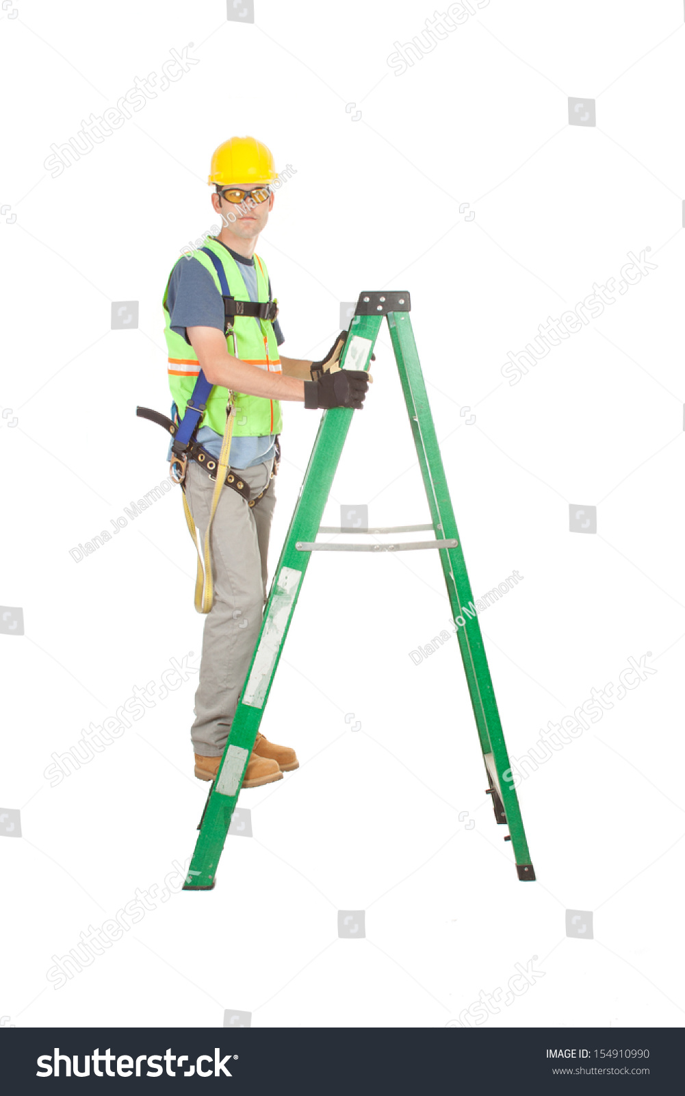 Construction Worker Full Safety Kit Climbs Stock Photo 154910990 ... for Worker Climbing Ladder  150ifm