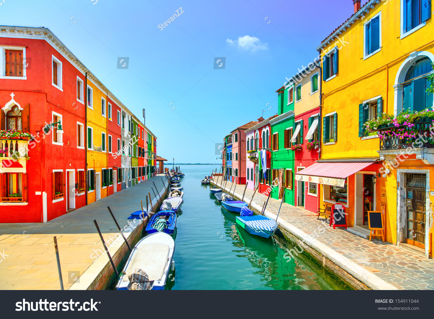 Venice Landmark Burano Island Canal Colorful Stock Photo