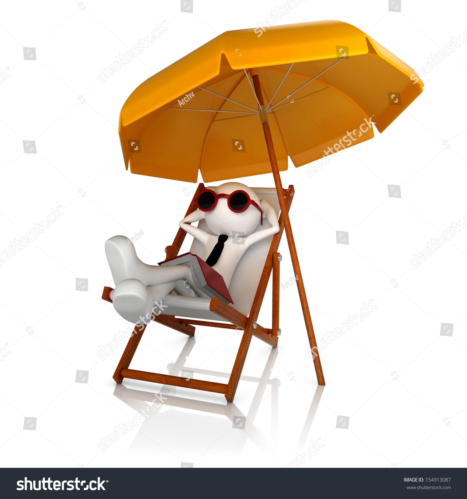 3d Human Businessman Relax Beach Stock Illustration
