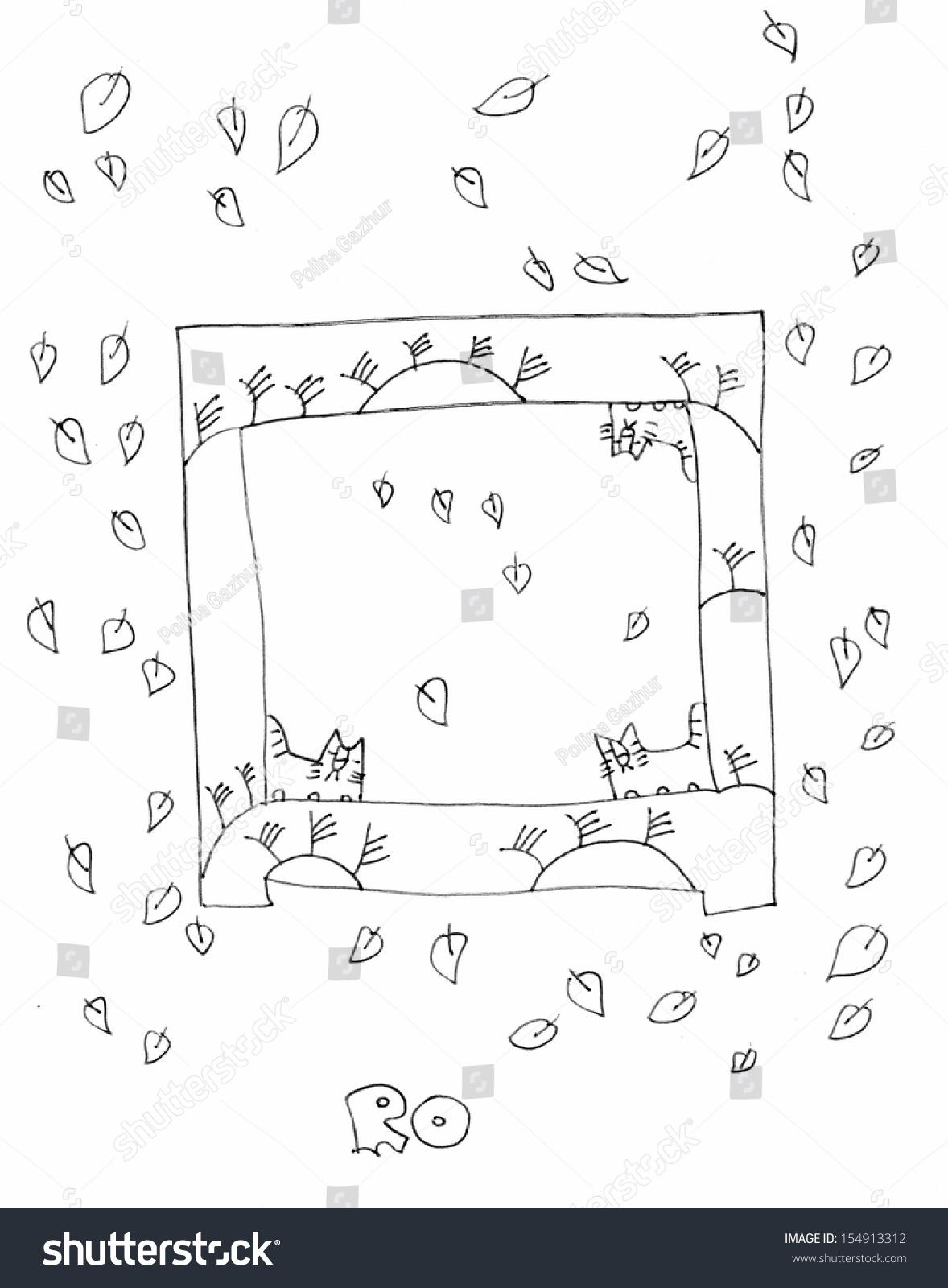 Sketched Illustration Japanese Letter Katakana Trees Stock