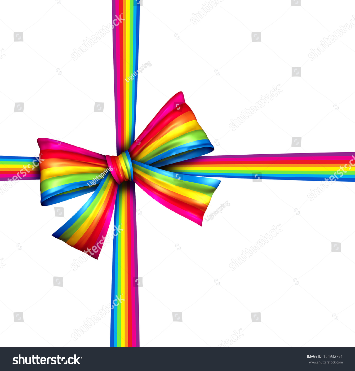 Royalty Free Stock Illustration of Rainbow Gift Ribbon Bow Silk
