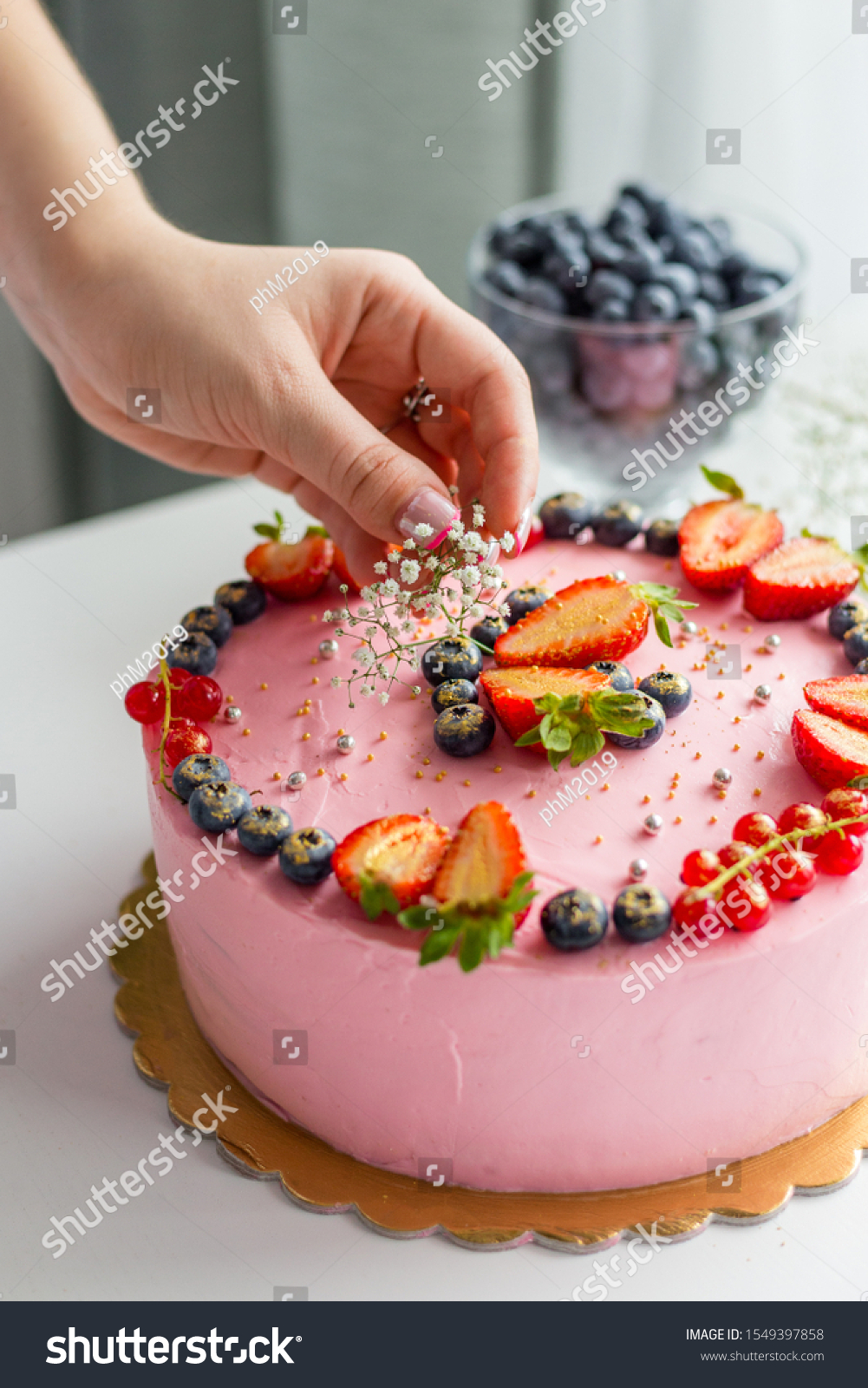 Awe Inspiring Woman Decorating Delicious Cake Homemade Pink Stock Photo Edit Funny Birthday Cards Online Kookostrdamsfinfo