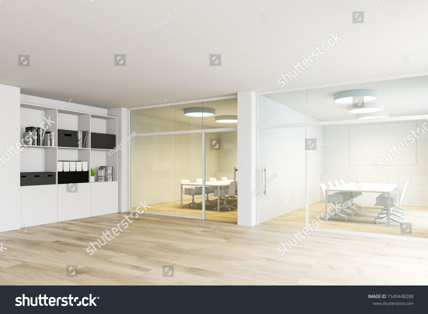 Interior Modern Office White Yellow Meeting Stock