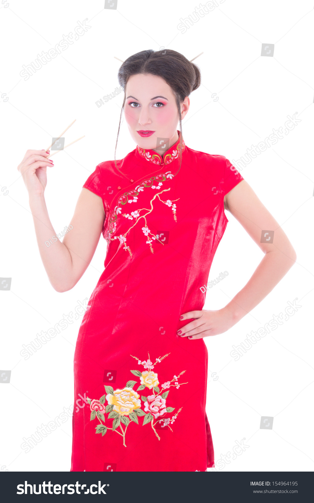 attractive girl in red japanese dress with chopsticks isolated on white background #154964195