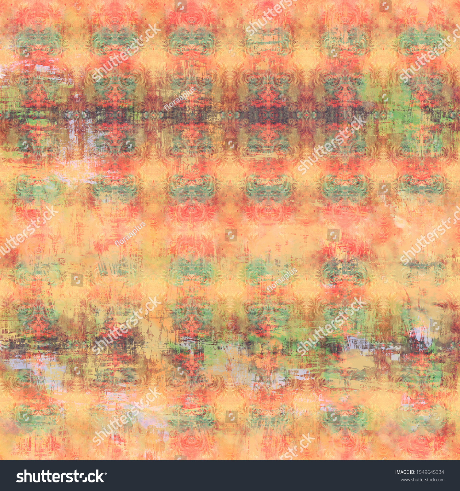 Red-Beige shabby vintage patterned background. Artificially aged bohemian wallpaper in grunge style. Design for handicraft and mass production of various goods.