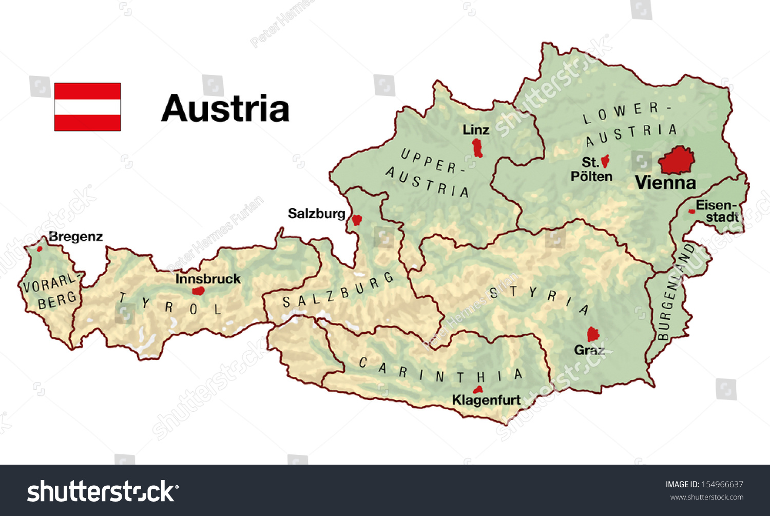 Topographic map austria europe cities federal stock illustration topographic map of austria in europe with cities federal states borders and flag sciox Gallery