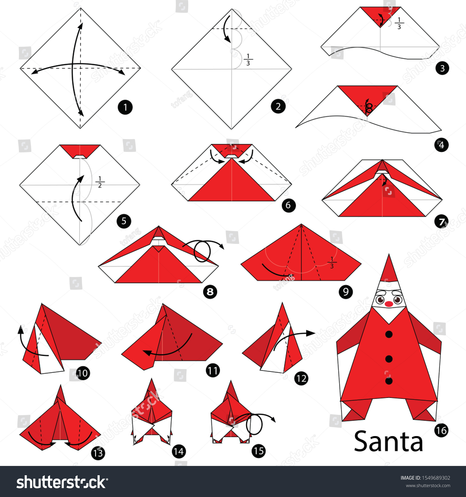 How to Make an Origami Santa Boots Instructions | Free Printable ... | 1600x1500