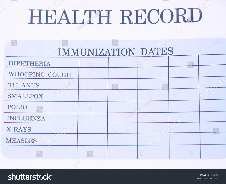 blank immunization record