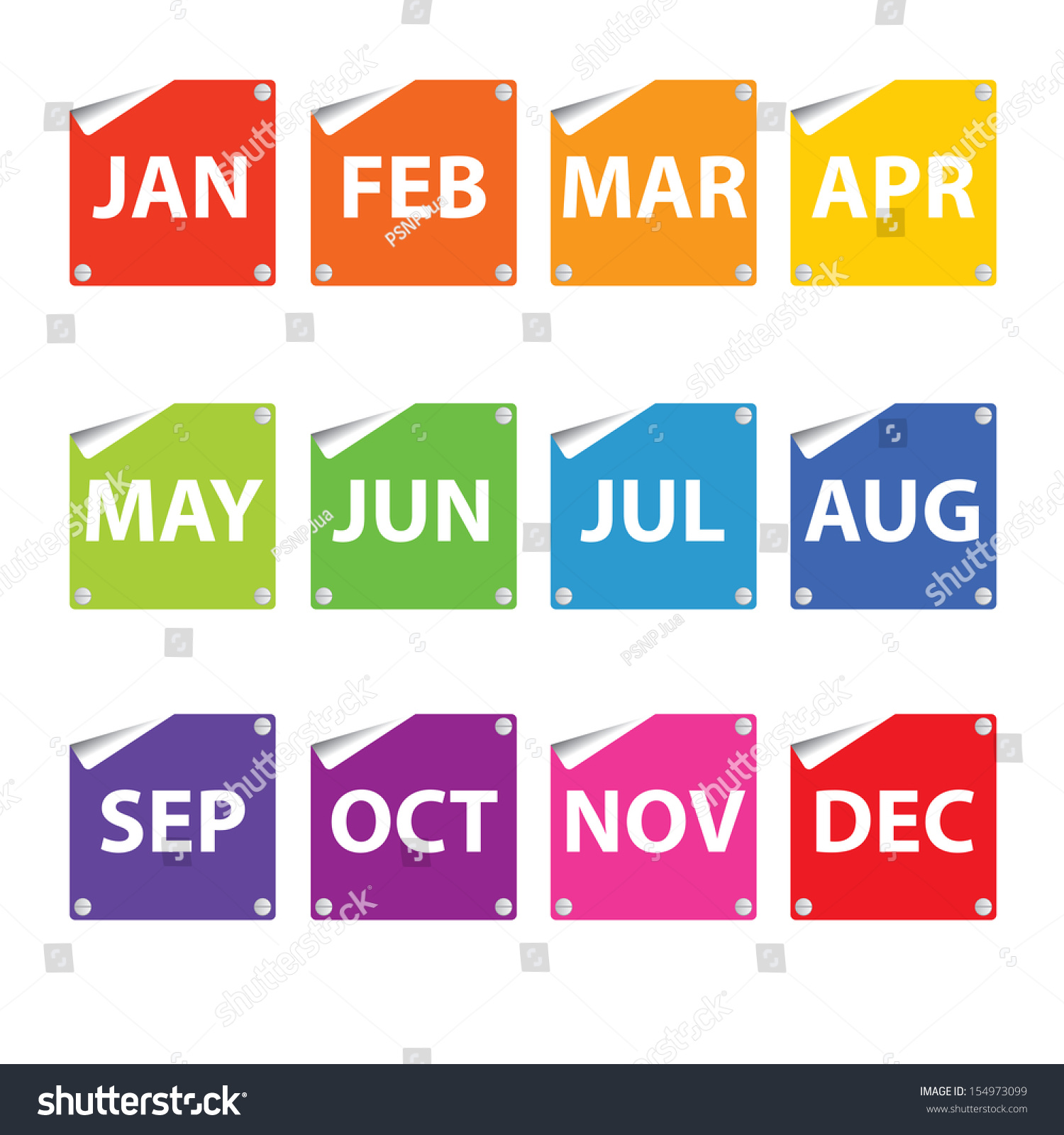 Colorful Month Stickers. Stock Photo 154973099 : Shutterstock