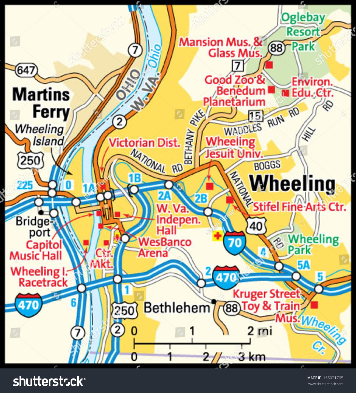 Wheeling West Virginia Area Map Stock Vector Shutterstock - W va map