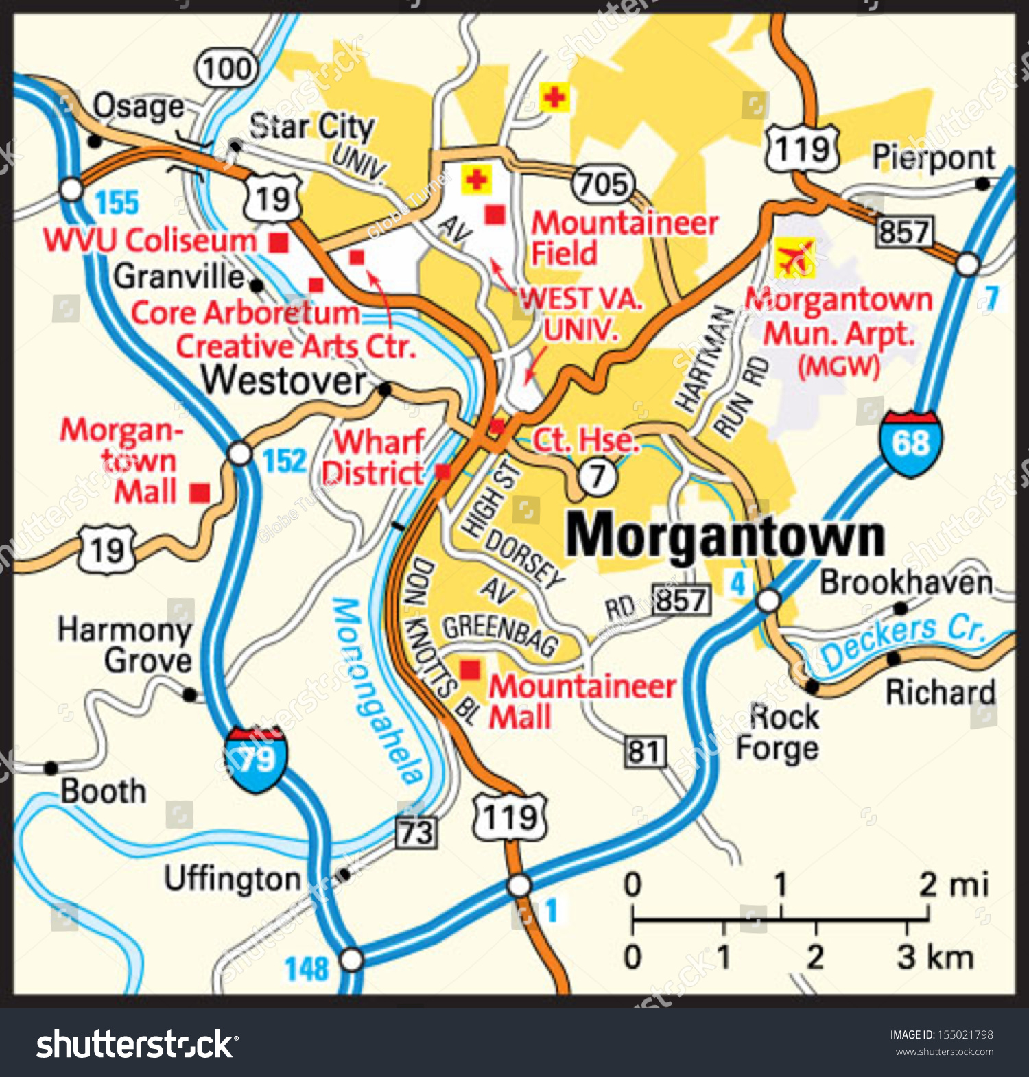 Morgantown West Virginia Area Map Stock Vector - W va map