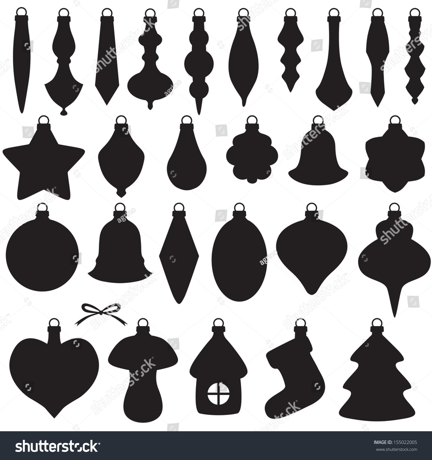 Silhouette Image Christmas Baubles Set Stock Vector
