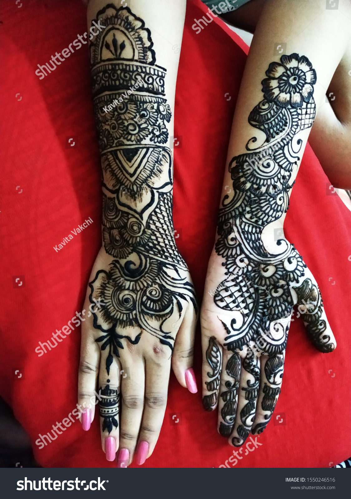 Beautiful Henna Design Front Back Hand Stock Photo Edit Now 1550246516