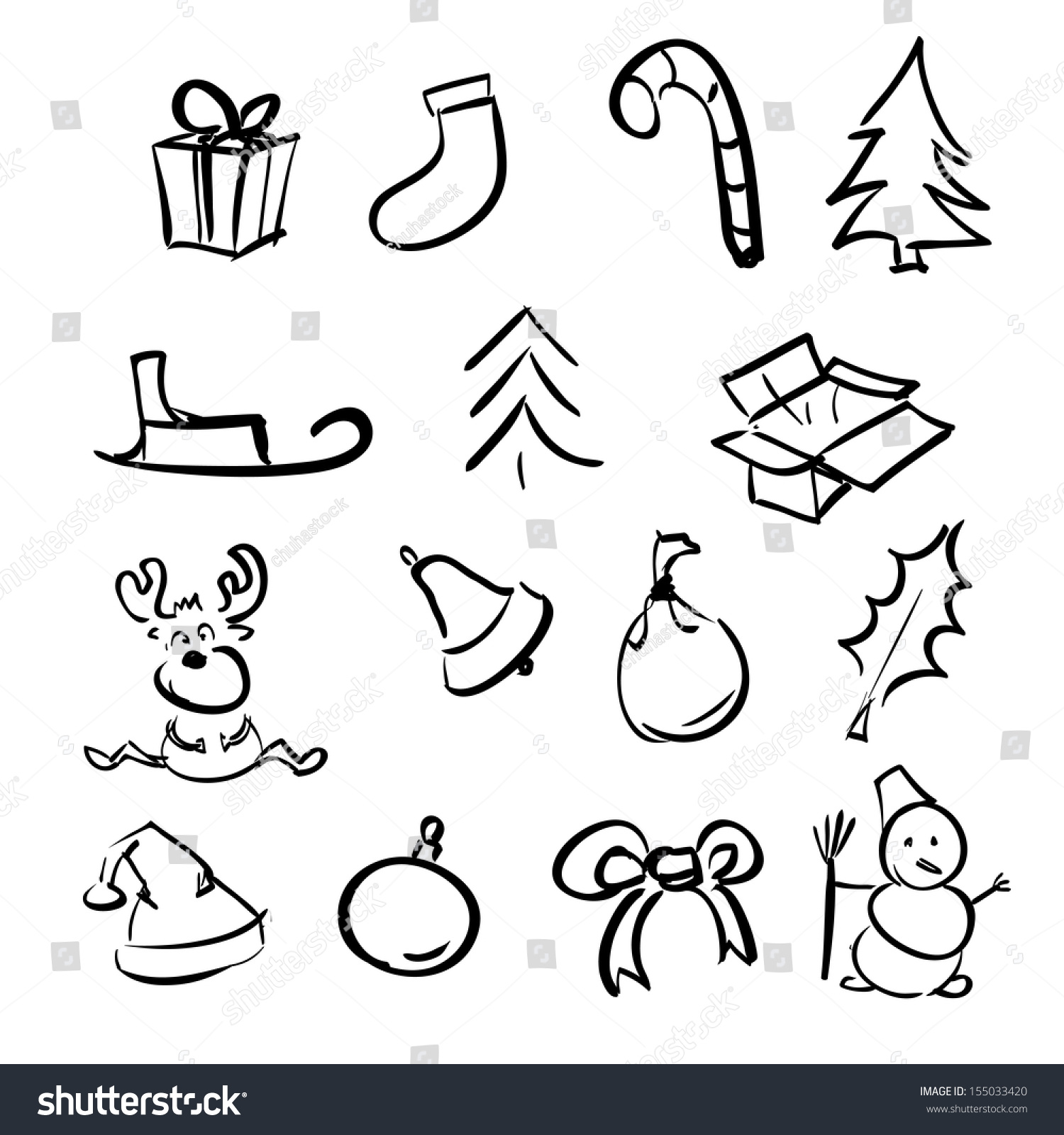 christmas simple objects cartoon sketch collection stock. Black Bedroom Furniture Sets. Home Design Ideas