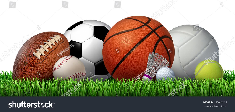 Color Sport Background Football Basketball Hockey Stock: Recreation Leisure Sports Equipment On… Stock Photo